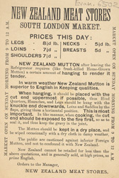 Advert for the New Zealand Meat Stores 6502